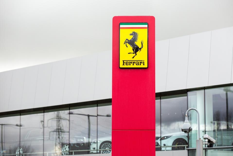 Ferrari logo seen in front of the Official Ferrari Dealer -...