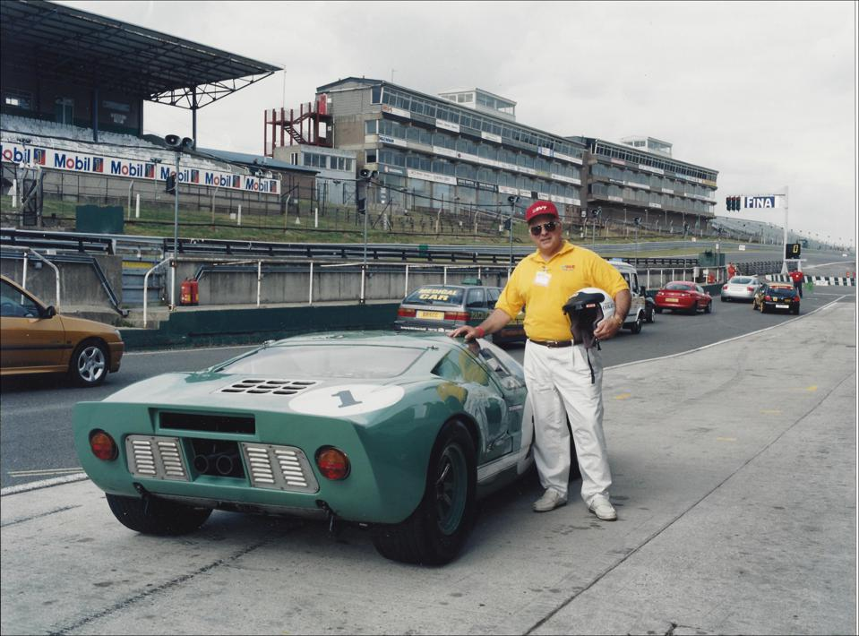 John Coletti at Brands Hatch with the 1965 Ford GT40 press car, 2001.