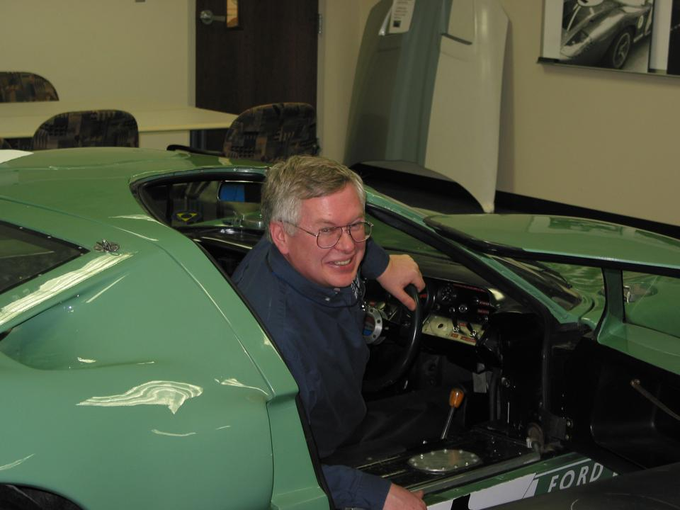 Ford GT quality engineer Robert Brown in the Ford GT40 press car from 1965-66.