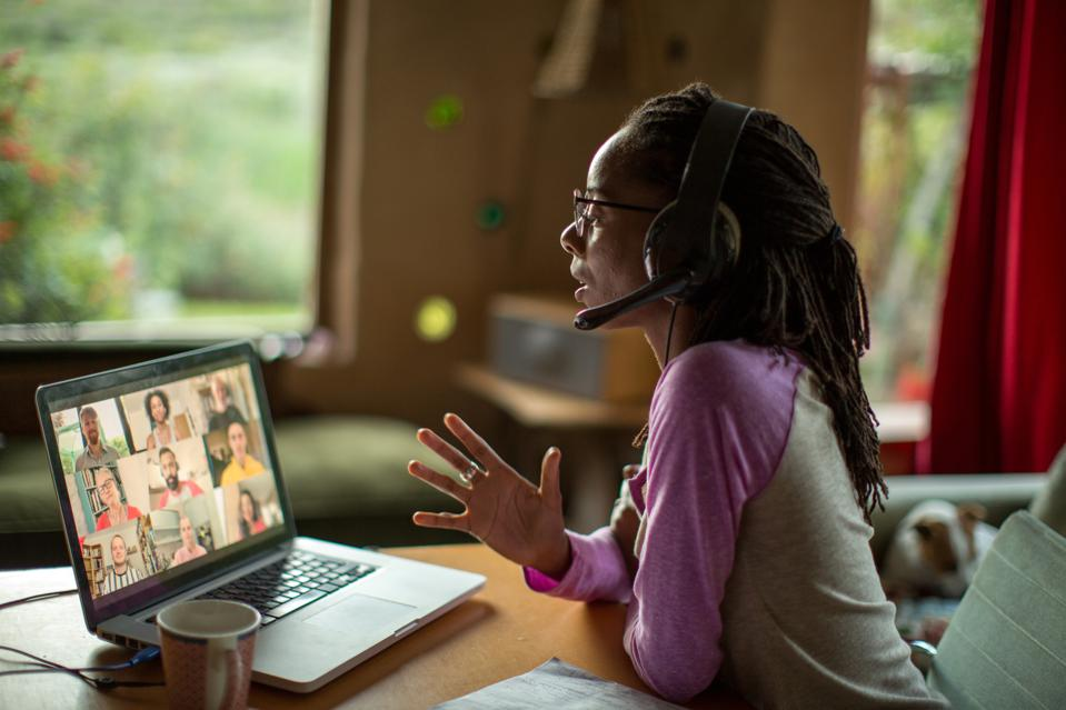 Public speaking class deal: Woman talking over video chat