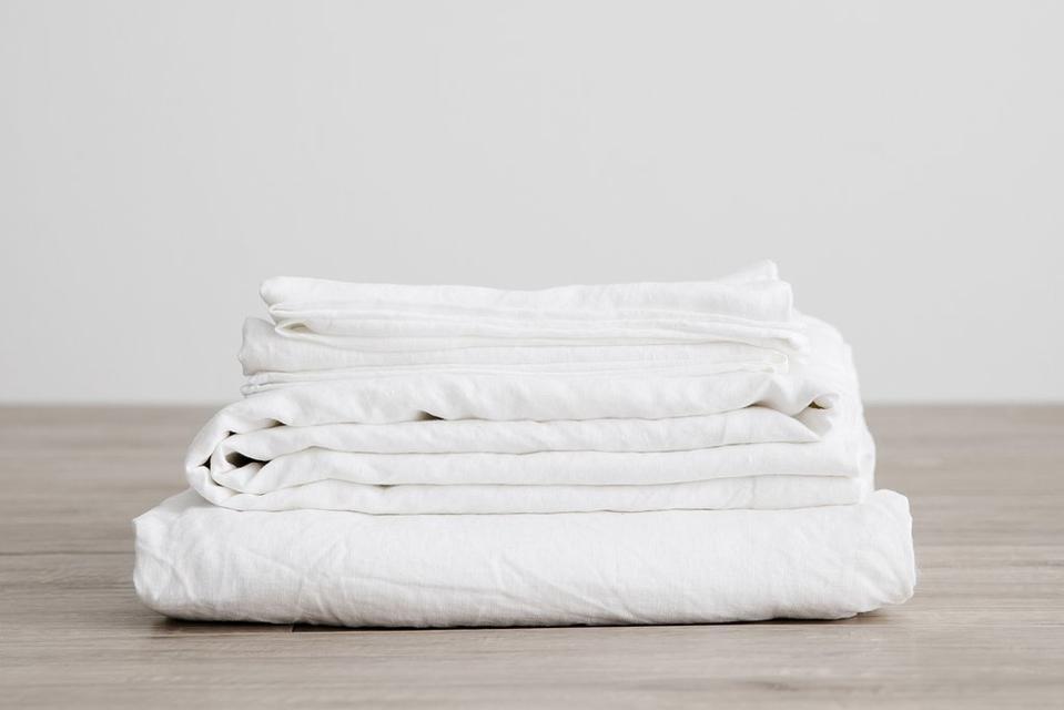 Linen Sheet Set With Pillowcases - White