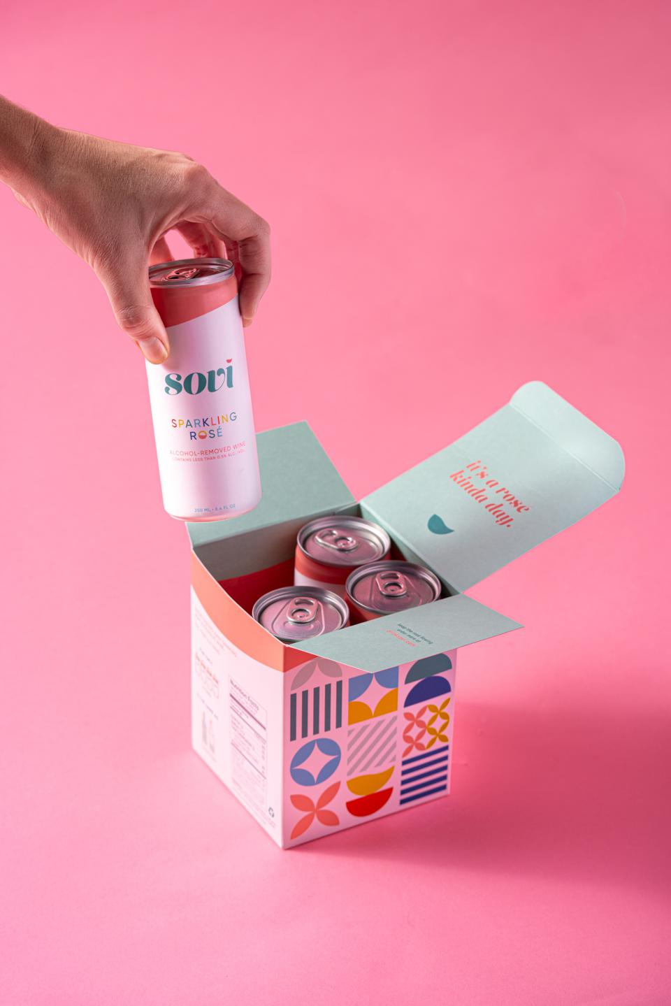 cute pink cans of wine