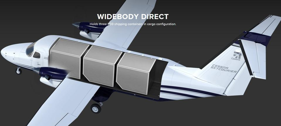 The SkyCourier's design can incorporate three of FedEx' standard LD3 containers