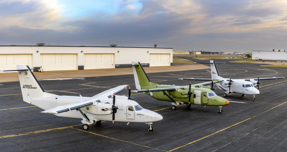A trio of SkyCouriers outside Textron Aviation's production facility in Wichita, Kansas.