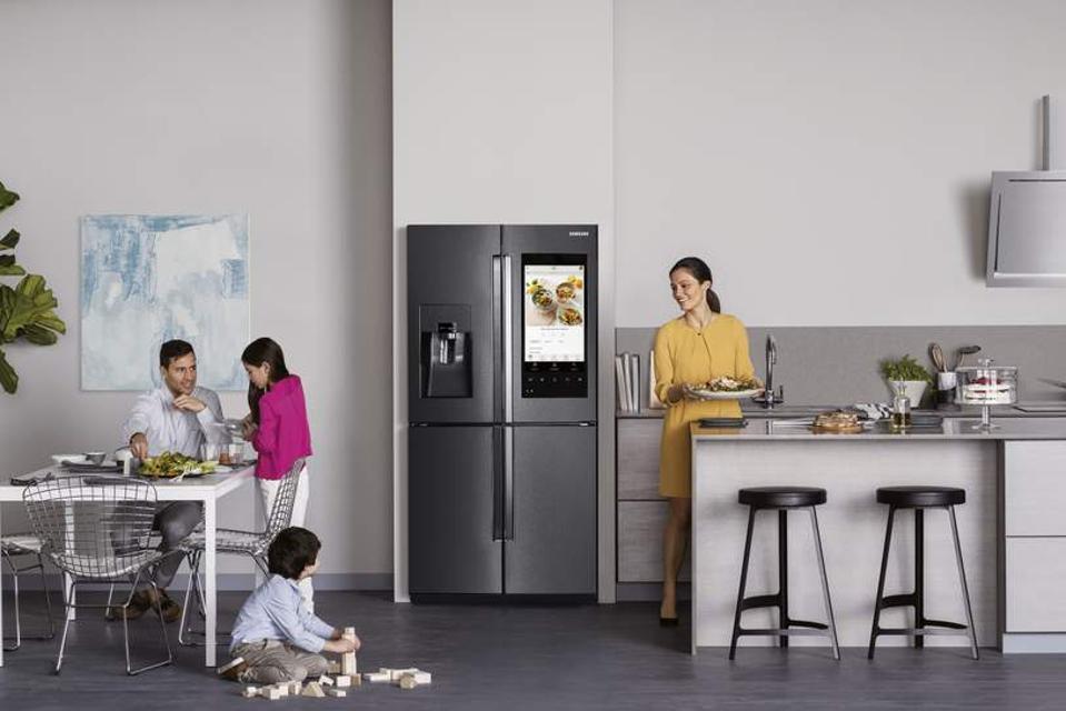 Samsung smart fridge in kitchen