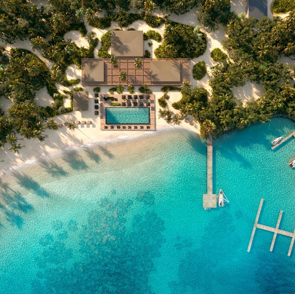 An aerial view of Patina Maldives, Fari Islands.