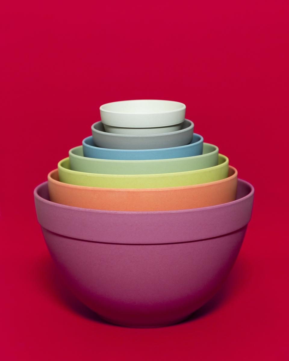 This colorful 7-piece set of nesting bowls from Bamboozle Home is made from bamboo fiber. The kitchen bowls are fun and functional, sustainable and renewable, and dishwasher safe.