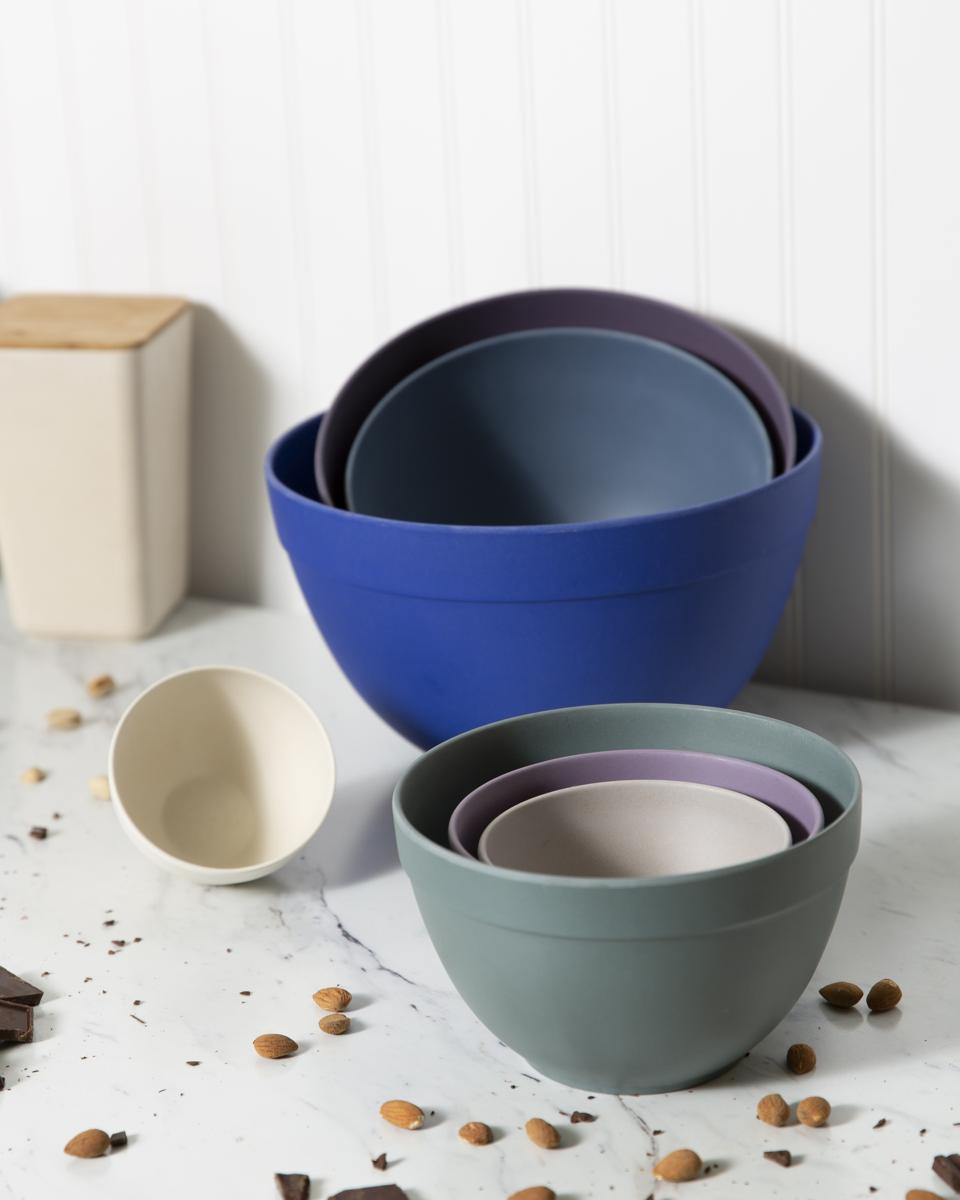 The 7-piece nesting bowls from Bamboozle Home also come in a Thistle colorway of blues, purples, grey and ivory. The bowls range in size from the smallest which is 10-ounces to the largest which holds 1.5 gallons.