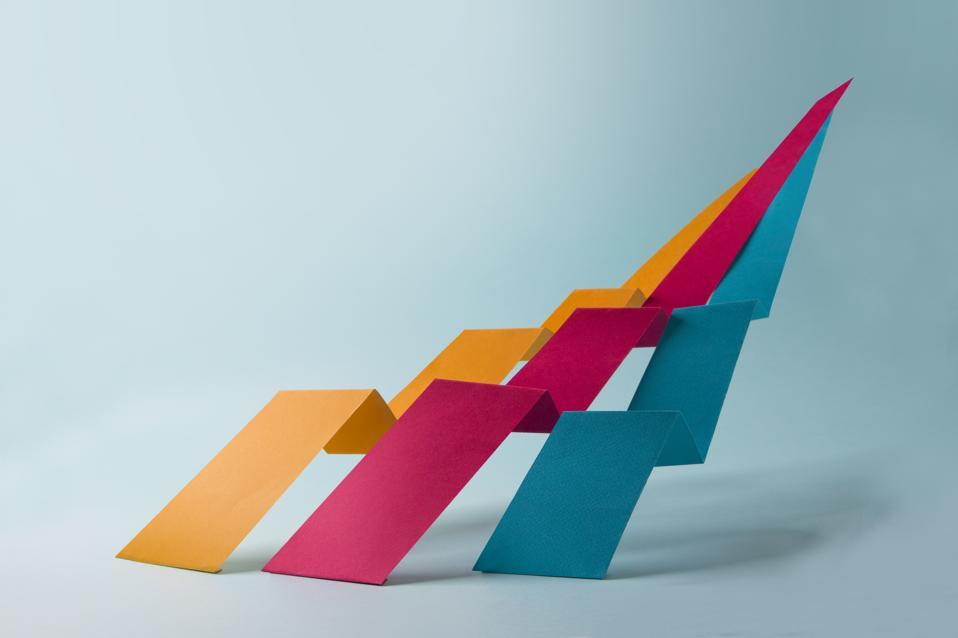 Abstract minimalist dynamic growth chart still life.