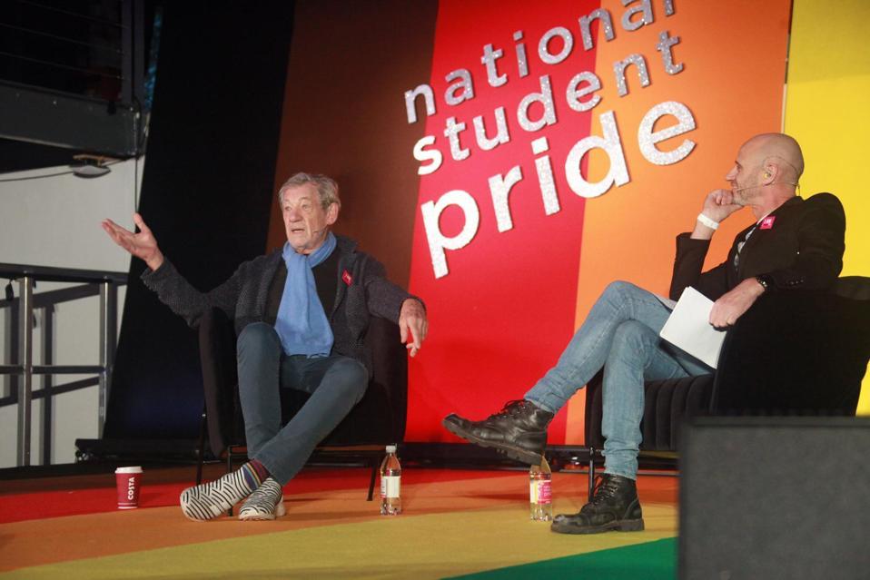 Ian McKellen interviewed by Evan Davis on #QueerAF podcast at National Student Pride
