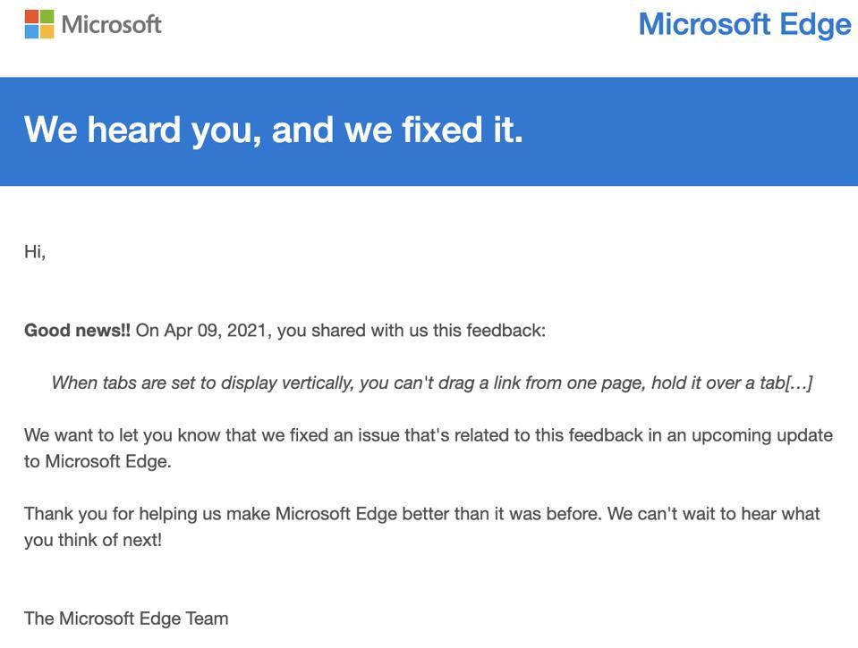 Microsoft Edge team email