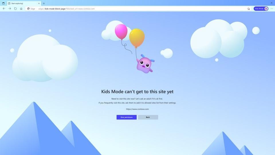 Microsoft Edge Kids Mode block page