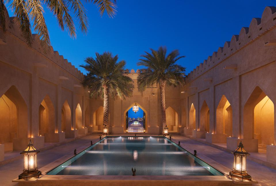 The courtyard of The Qasr Al Sarab Desert Resort