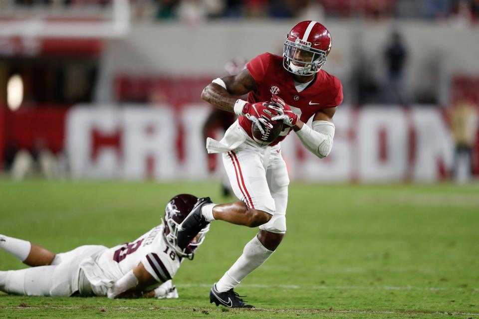 TUSCALOOSA, AL - OCTOBER 31: Patrick Surtain II #2 of the Alabama Crimson Tide intercepts a pass from the Mississippi State Bulldogs and returns it for a touchdown at Bryant-Denny Stadium on October 31, 2020 in Tuscaloosa, Alabama. (Photo by UA Athletics/Collegiate Images/Getty Images)