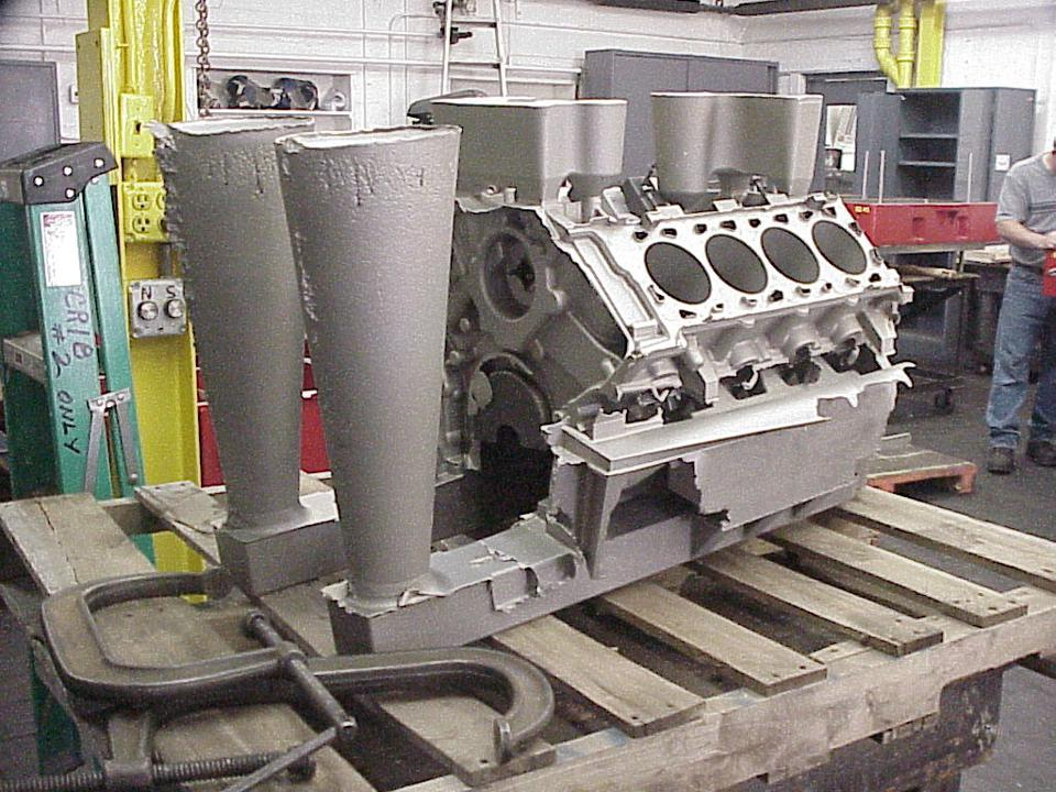 A raw casting of the Ford GT cylinder block, photographed at the supplier, Eck.