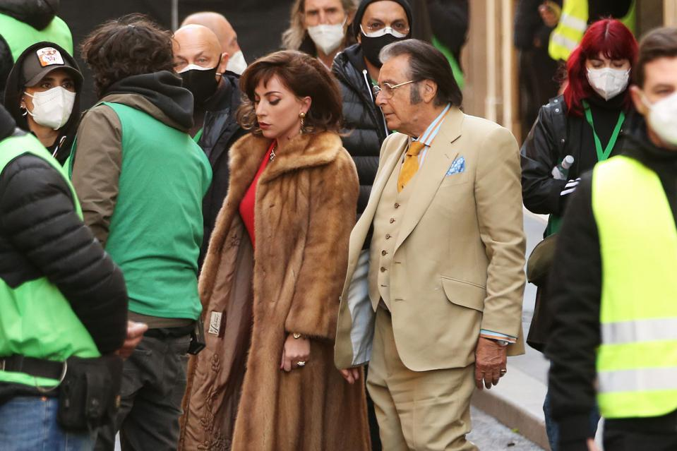 Lady Gaga and Al Pacino during ″House Of Gucci″ Shooting In Rome