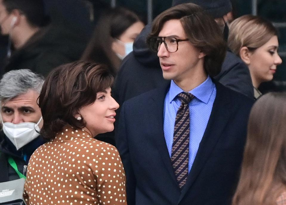 Lady Gaga and Adam Driver during the filming of Gucci House in Italy