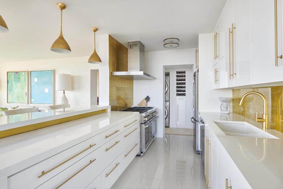 designer kitchen white gold inside 52 East End Avenue, Apartment 35 New York, NY