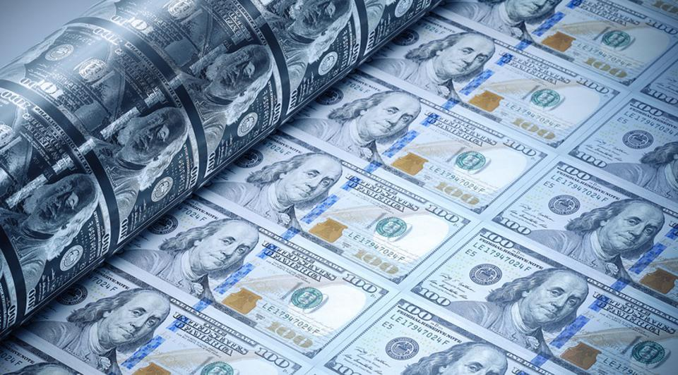One Hundred American Dollars Being Printed - Money Printing Concept