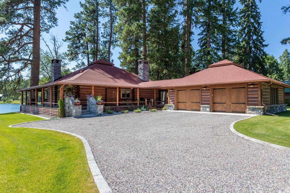 garage swan lake luxury log home  13592 River Run Loop bigfork montana