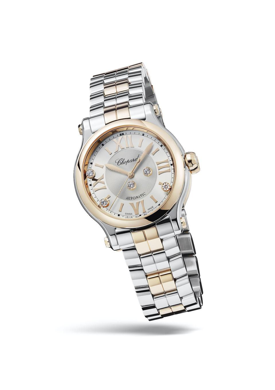 Chopard Happy Sport Automatic 33mm in Lucent Steel and 18-karat ethical Gold.