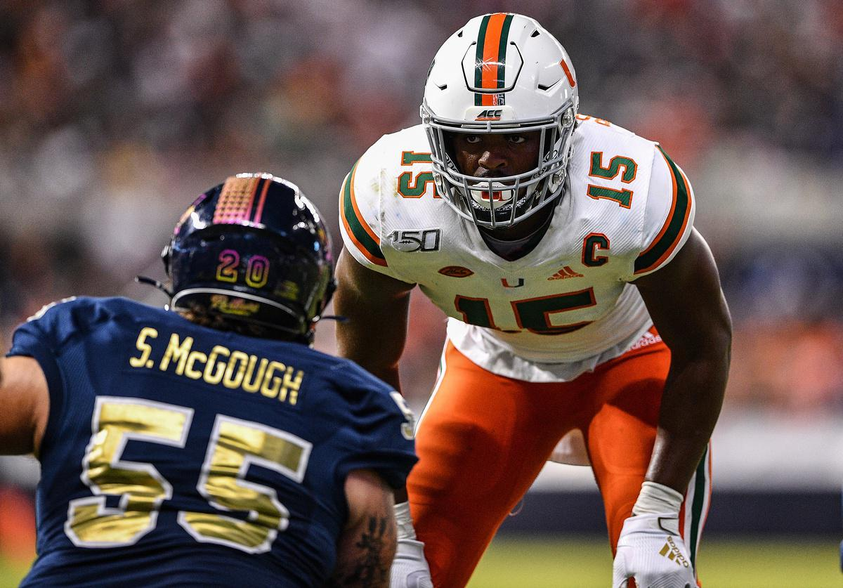 Gregory Rousseau of the Miami Hurricanes.
