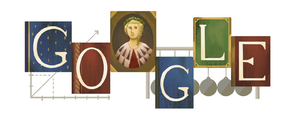 Color image of the word ″Google″ with a portrait of Laura Bassi in place of the second O
