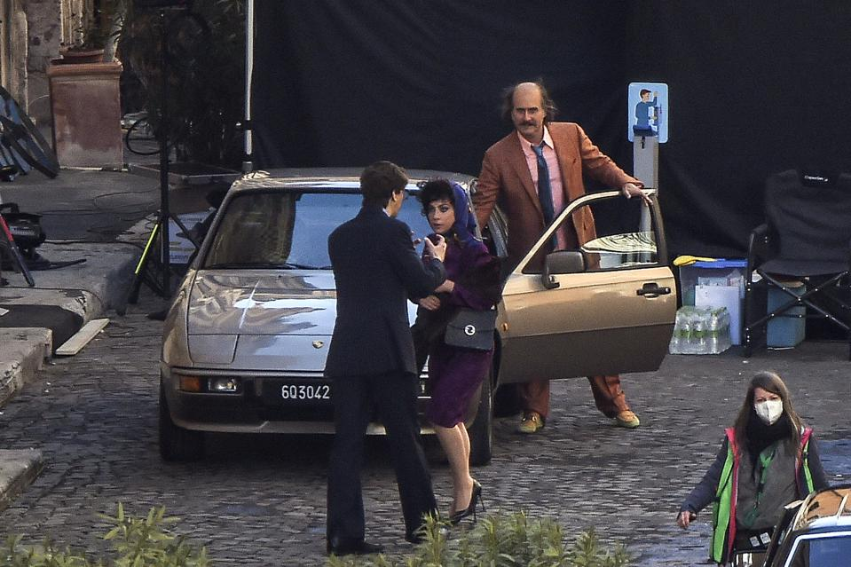 Lady Gaga, Jared Leto and Adam Driver on the set of ″House of Gucci″ In Rome