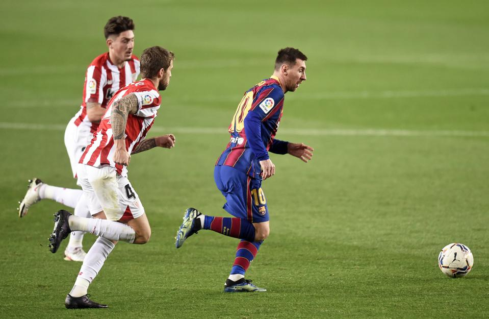 Lionel Messi leads the line for Barcelona in the Copa del Rey final against Athletic Bilbao