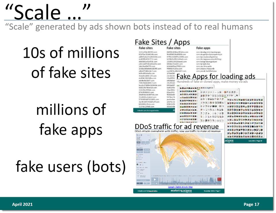 scale from millions of fake sites and fake apps