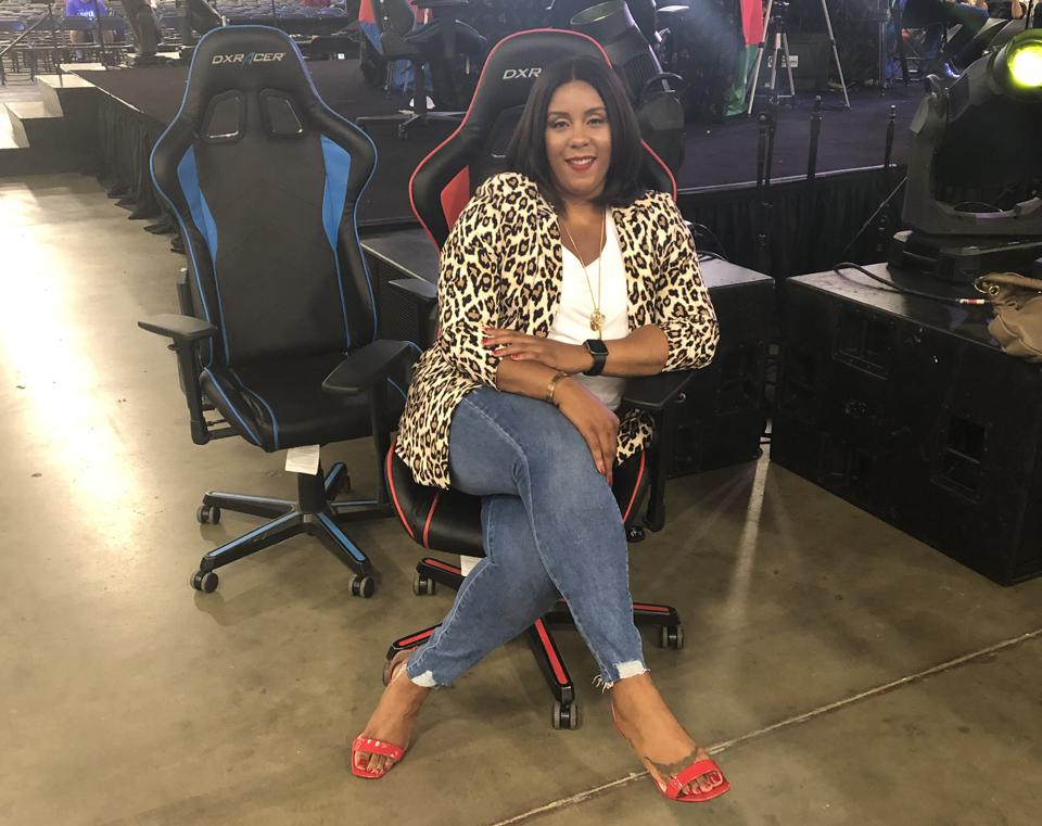 Dr. Melita Moore, founder of Levels Unlocked, getting ready to assist NBA 2k League gamers