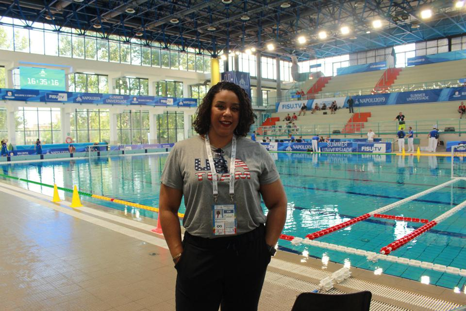 Dr. Melita N. Moore, Team Physician for USA Water Polo, World University Games, Naples, IT
