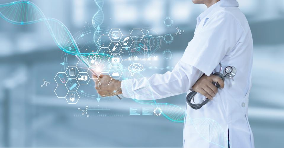Medicine doctor holding electronic medical and record on tablet. DNA. Digital healthcare and network connection on hologram modern virtual screen interface, medical technology and futuristic concept.