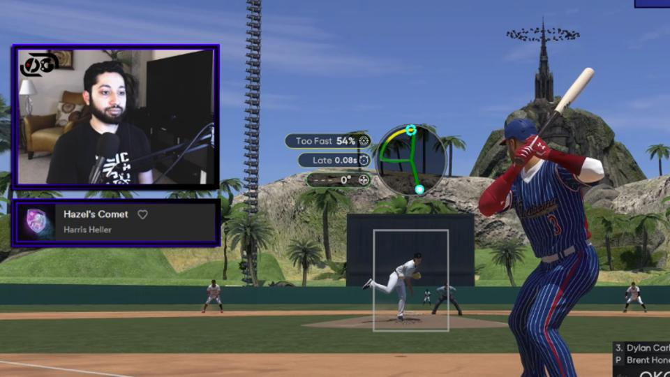 A MLB the Show 21 screenshot that shows a tower of cows in the stadium outfield