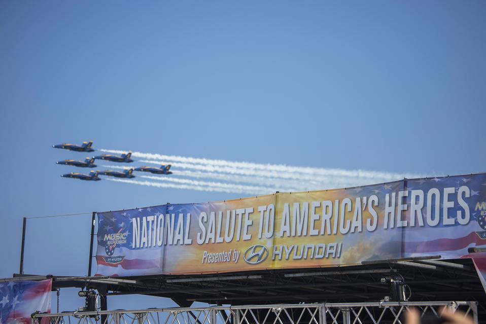 The Hyundai Air & Sea Show® Blue Angels Fly Over