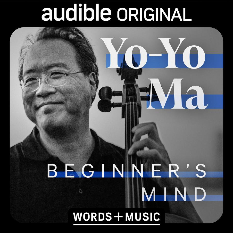 Yo-Yo Ma smiling, holding a cello, with text overlaid.