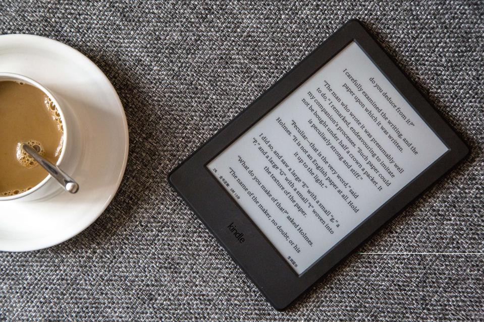Kindle on a sofa