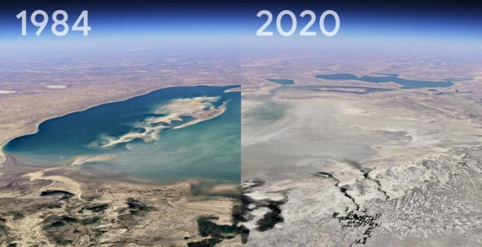 A timelapse look at the changing Aral Sea, Kazakhstan.