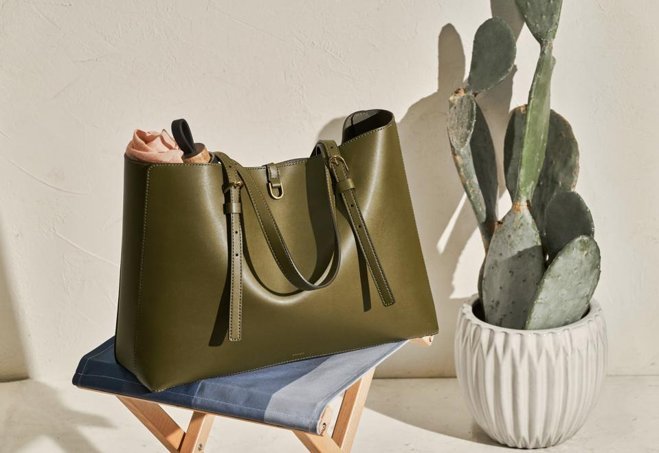 Fossil Kier Sustainable Cactus Leather Tote in Green