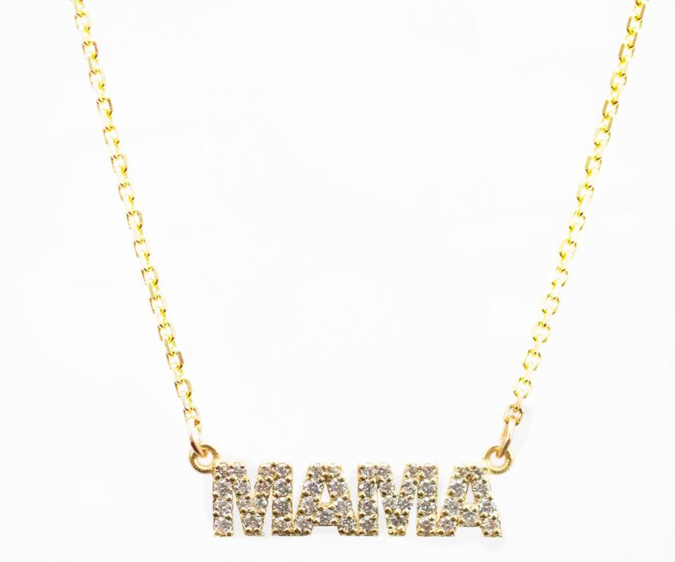 The Diamond 'MAMA' Nameplate necklace in 14K gold and diamonds with chain length options of 14, 16, 18 and 20 inches. Price varies accordingly.