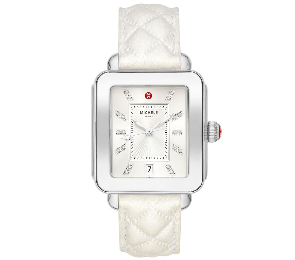 Deco Sport Stainless Topaz Quilted Leather Watch in White