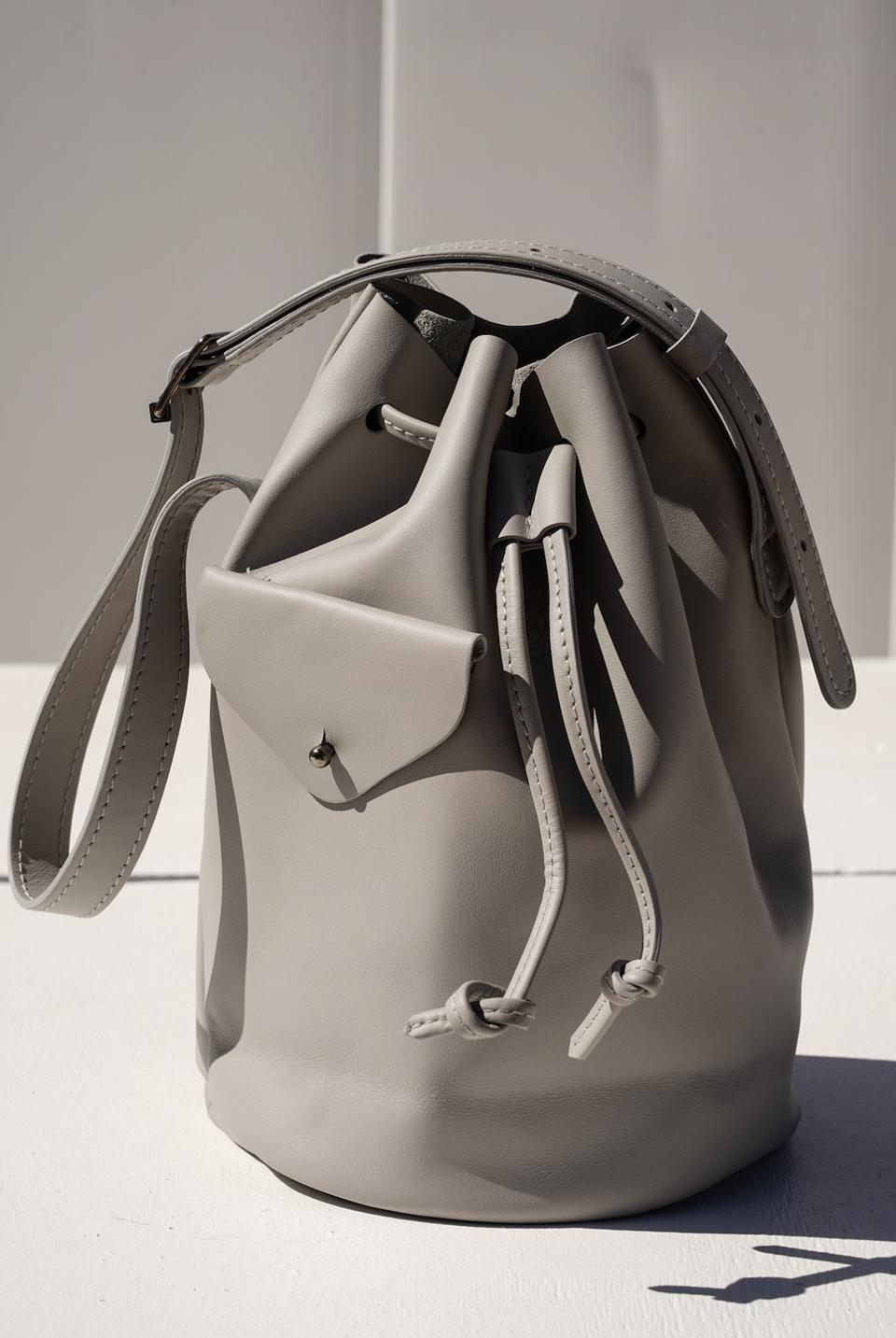 Totem Bag in Cement color with Dark Nickel Hardware