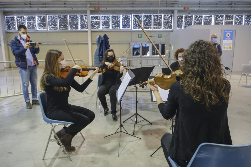 Concert Of The Philharmonic Academy Of Camposampiero For The Newly Vaccinated Elderly At The Padua Fair
