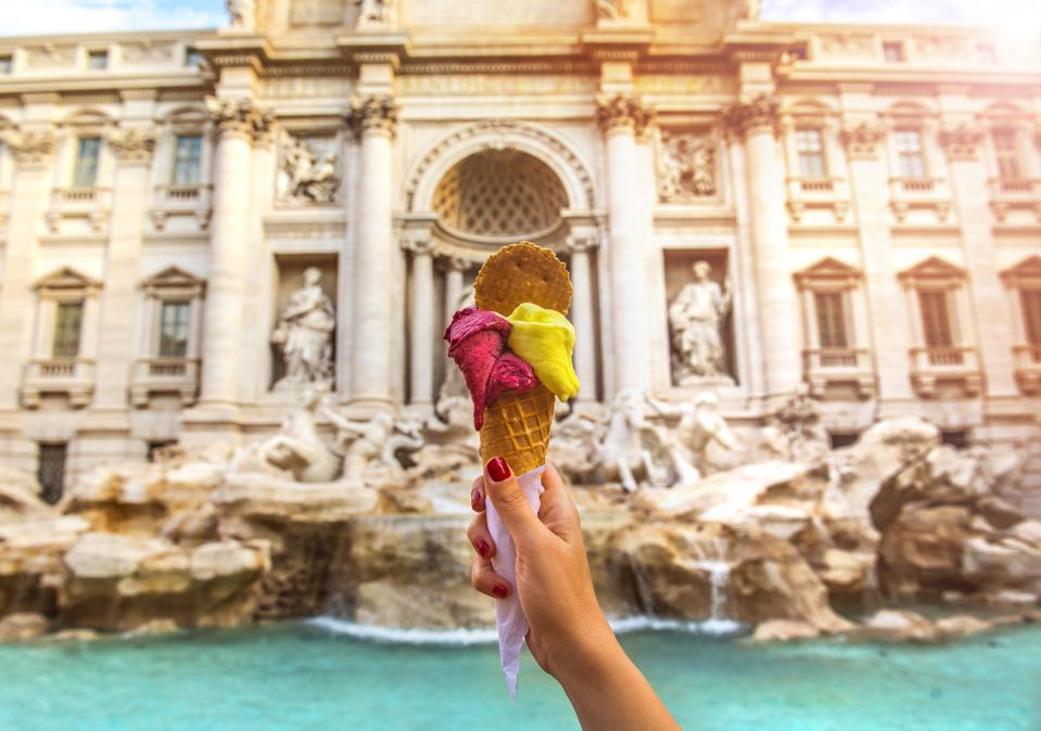 Famous Italian Gelato at Trevi Fountain Rome