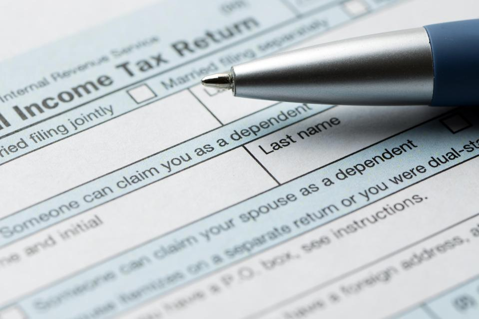United States federal income tax return IRS 1040 document