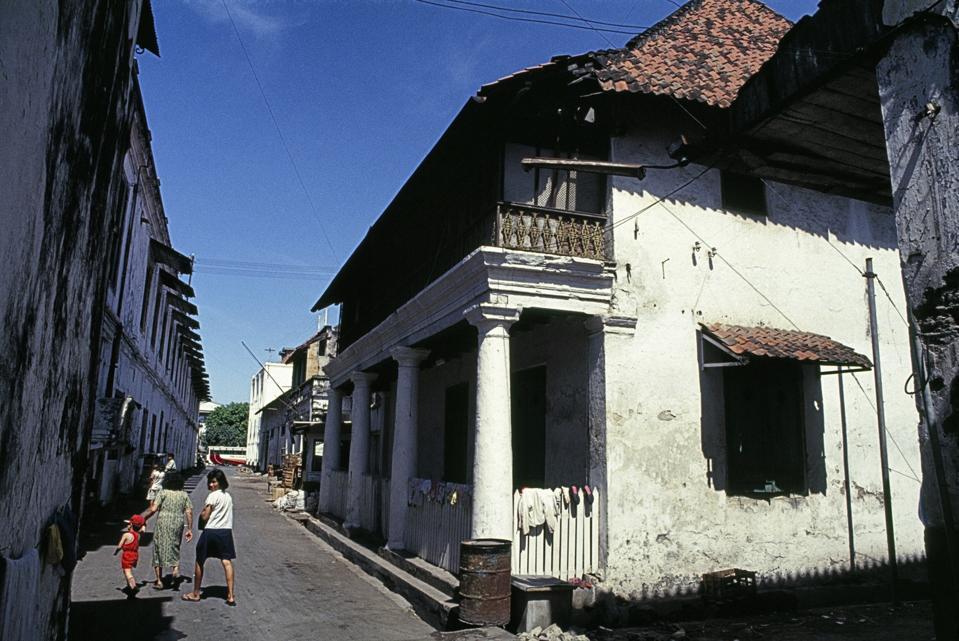 dilapidated back streets in Surabaya, Java