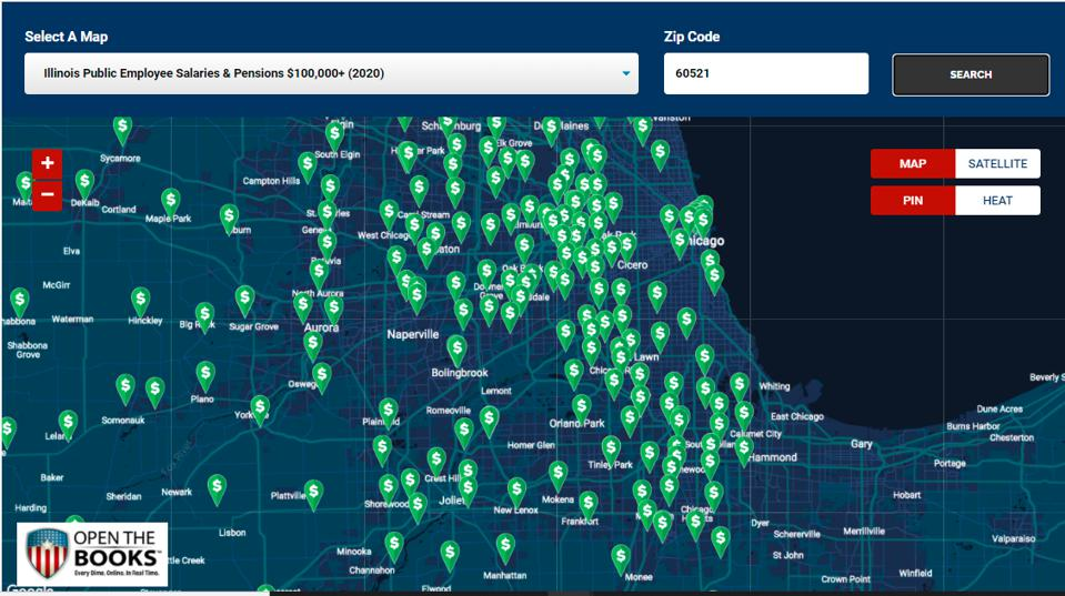 Every six figure Illinois public employee mapped by Zip Code (2020).