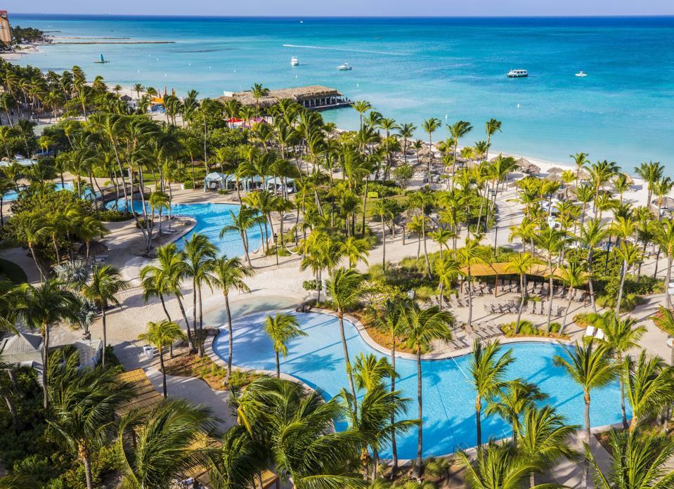Hotels along the beaches of Aruba.