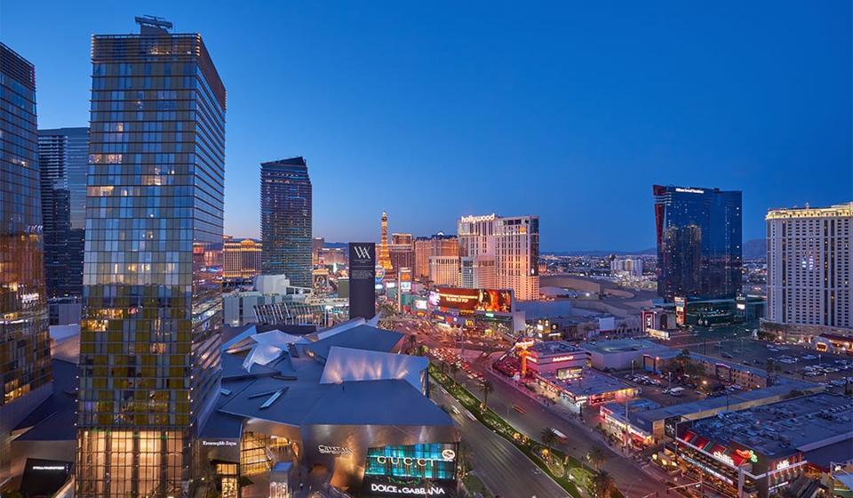 An overhead view of the Las Vegas Strip.