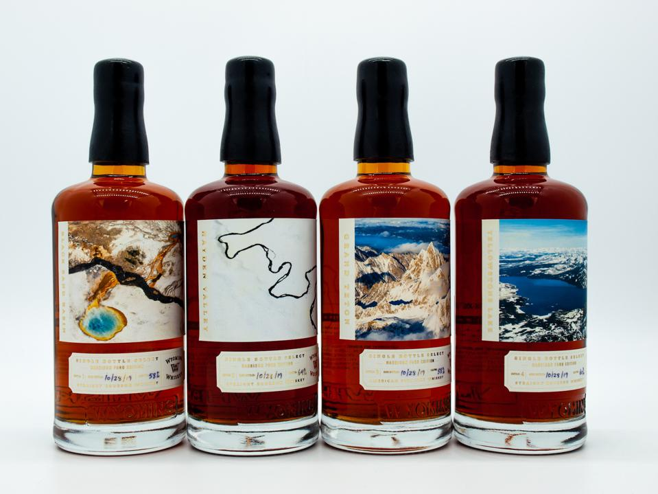 Bottles of Wyoming Whiskey Wide-Open Spaces Collection